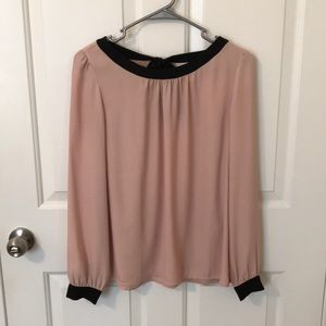 LOFT pink bow blouse small
